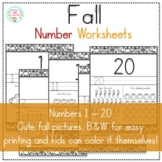 Fall Numbers Worksheets 1 - 20