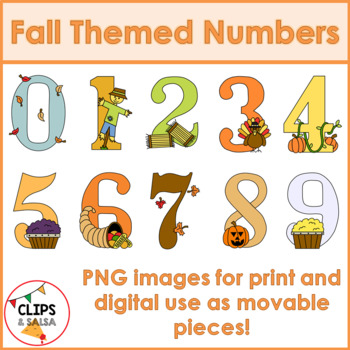 Fall Themed Number Clip Art for Digital & Paper Resources