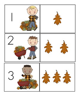Fall Numeral Matching Game