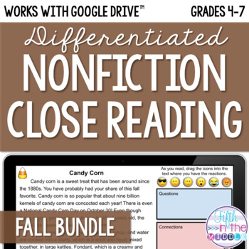 Fall ONLINE Differentiated Nonfiction Close Reading Bundle {August-November}