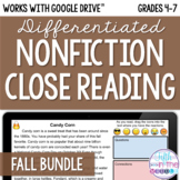 Fall ONLINE Differentiated Nonfiction Close Reading Bundle