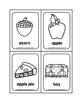 Fall Objects Picture Word B&W Flash Cards