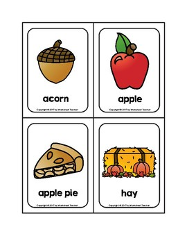 Fall Objects Picture Word Flash Cards