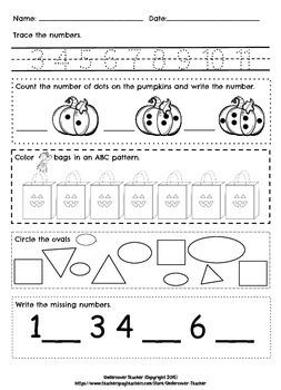 Fall October Kindergarten & 1st Grade Math Skill Builders-Stations