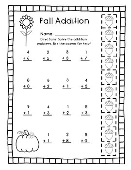 Fall One-Digit Addition - Sums to 10