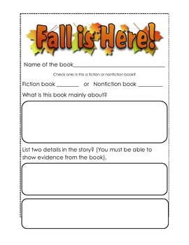 Fall Open-Ended Fiction and Nonfiction Book Report