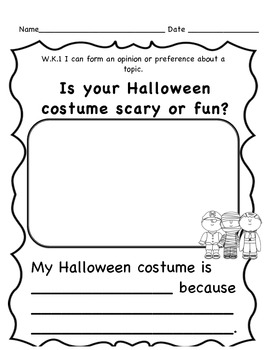 Fall Opinion Writing Prompts for Kindergarten