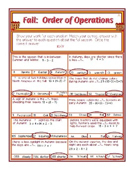 Fall Order of Operations