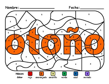 Fall/Otoño Color by Number español