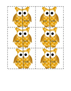 Fall Owl Compound Words Matching Game