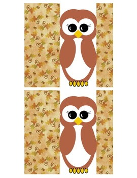 Fall Owl Hershey Bar Wrappers