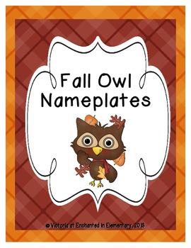 Fall Owl Seasonal Desk Nameplates