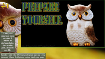 Fall Owl Orchestra Game - INSTRUMENT ZOOM Elementary Music - Use for Music Sub!
