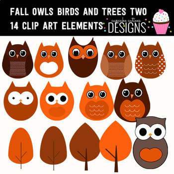 Fall Owls Birds and Trees 02 Autumn Digital Clip Art Elements