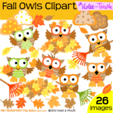 Fall Clipart Fall Owls Clip Art Leaves Leaf Pile Raking Leaves Rake oak maple