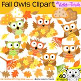 Fall Owls Clipart Leaves Leaf Pile Rake Color Clip Art + L