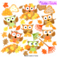 Fall Owls Clip Art Leaves Leaf Pile Rake Color Clip Art +