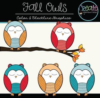 Fall Owls - Digital Clipart