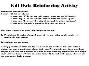 Fall Owls Reinforcing Game for Articulation and Language!