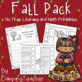 Fall Pack No Prep Literacy and Math Printables