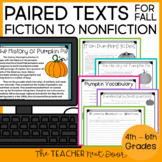Fall Paired Texts Fiction to Nonfiction Print and Digital Distance Learning