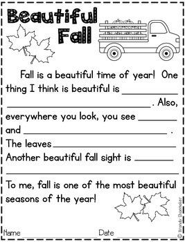 Fall Paragraph Frames