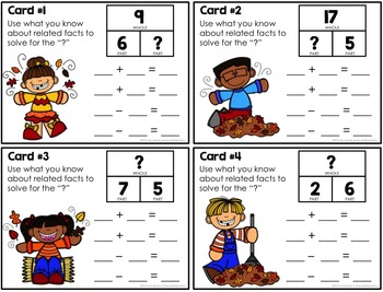 Fall Part-Part-Whole Related Facts Task Cards
