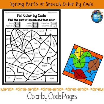 Fall Parts of Speech Color by Code