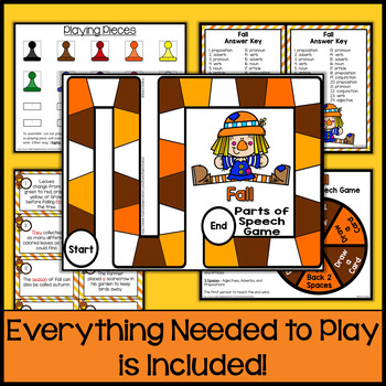 Fall Parts of Speech Game & Task Cards