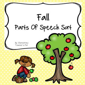 Fall Parts of Speech Literacy Activity