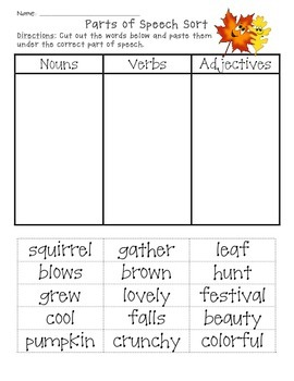 Fall Parts of Speech Sort, Cut, and Paste