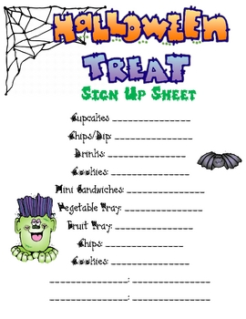 fall party food sign up sheet by anna watkins teachers pay teachers