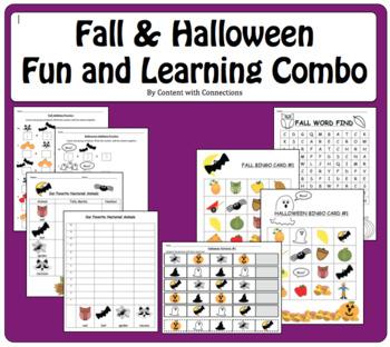 bingo fall halloween learning fun addition patterns graphing writing