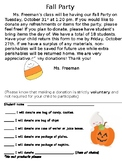 Fall Party Letter