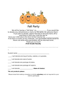 Fall Party Parent Letter (Editable)