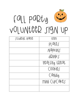 Fall Party Sign Up