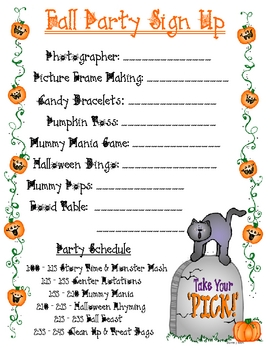 fall party sign up sheet by anna watkins teachers pay teachers