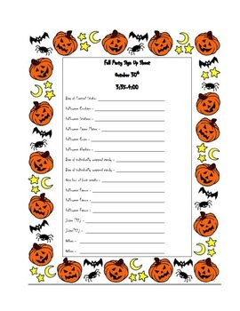 fall party sign up sheet by whitney sponsel teachers pay teachers