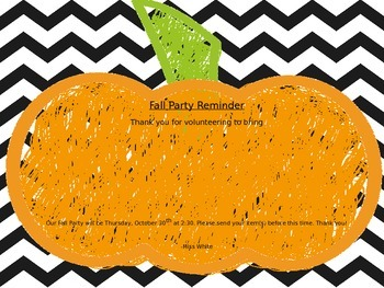 Fall Party Treat Reminder