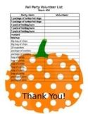 Fall Party Volunteer List