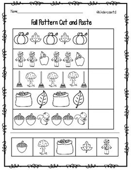 Fall Pattern Cut and Paste by KinderCounts1   Teachers Pay ...