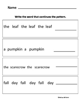 Fall Pattern Packet