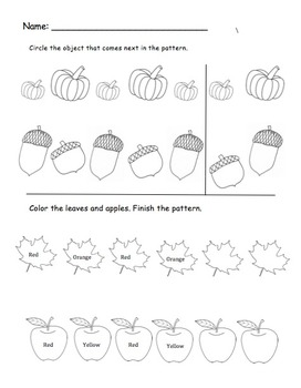 Fall Patterning Worksheet