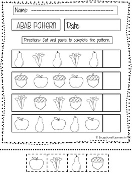 Math Worksheets- Patterns- Fall Themed- Special Education
