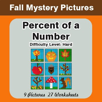 Fall: Percent of a number - Color-By-Number Math Mystery Pictures