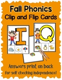 Fall Phonics:  Matching Letters and Sounds, Clip Cards for Independent Practice