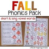 Fall Phonics Pack {short & long vowel words}
