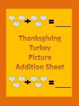 Thanksgiving Turkey Picture Addition Math Worksheet