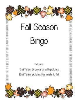 Fall Picture Bingo