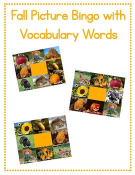 Fall Picture Bingo with vocabulary words